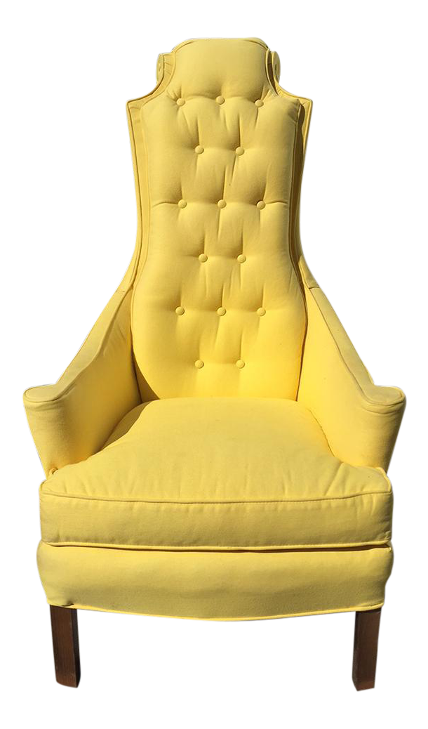 Vintage Hollywood Regency Glam Scroll High Back Chair