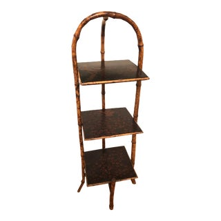 Vintage Chinoiserie Faux Bamboo 3-Shelf Etagere For Sale