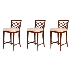 David Francis Beech Barstools - Set of 3 For Sale