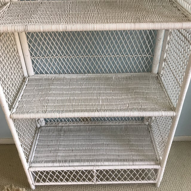 1970s 1970s Shabby Chic Victorian White Wicker 5-Shelf Wall Unit For Sale - Image 5 of 13