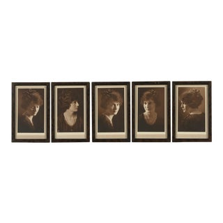 1900s English Traditional Silver Gelatin Photographs Portraits of Woman - Set of 5 For Sale