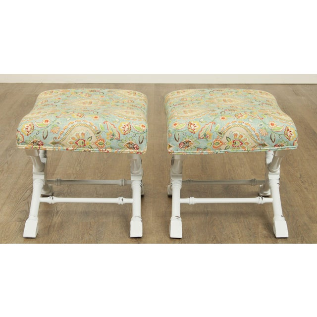 Regency Style Custom X Base White Painted Pair Benches For Sale - Image 4 of 13
