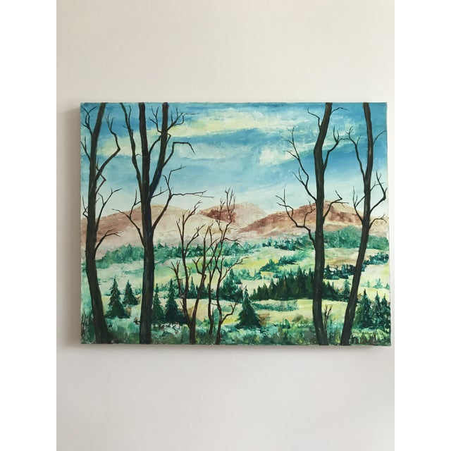 1960s Vintage Mountains and Forest Scene Painting For Sale - Image 5 of 5