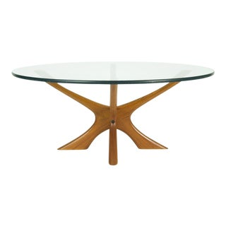 Illum Wikkelso Danish Modern Teak and Glass Coffee Table For Sale