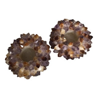 Amethyst and Quartz Candleholders - a Pair For Sale
