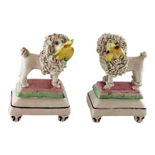 Late Century 19th c. Staffordshire Poodles Retrieving Birds - a Pair For Sale