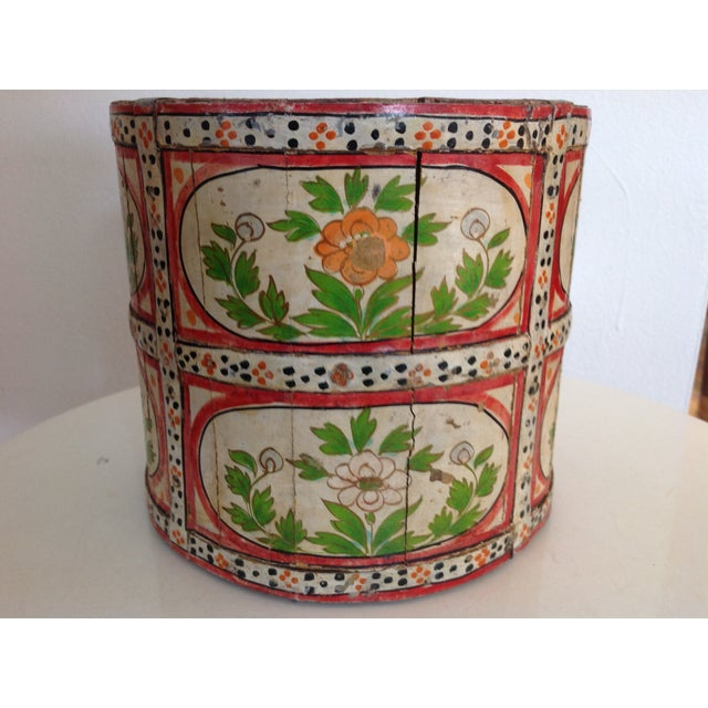 Tribal Hand-Painted Wood Pail/ Vessel For Sale - Image 3 of 7