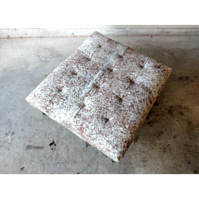 Gambrell Renard Tufted Cowhide Ottoman - Image 5 of 8