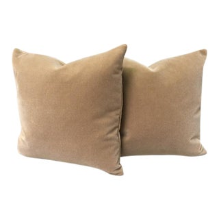 Tan Wool Velvet Pillows - a Pair
