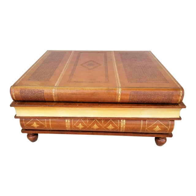 Vintage Maitland Smith 3 Drawer Genuine Leather Coffee Cocktail Library Table For Sale