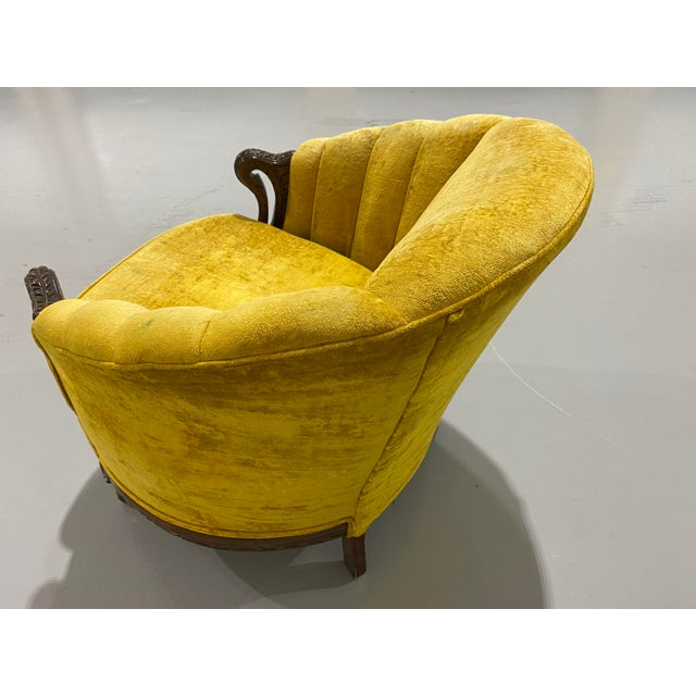 Textile 1970s Vintage Yellow Channel Barrel Back Velvet Swan Carved Chair For Sale - Image 7 of 9