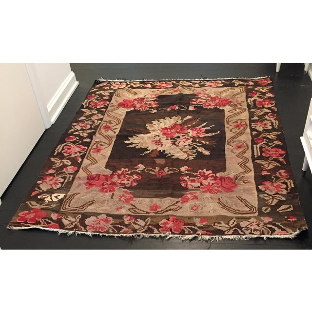 Antique Floral Kilim Rug - 4′8″ × 5′11″ - Image 2 of 4