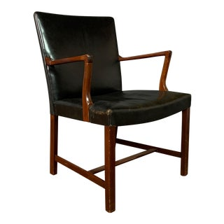 1940s Vintage Jacob Kjær Leather and Mahogany Armchair For Sale