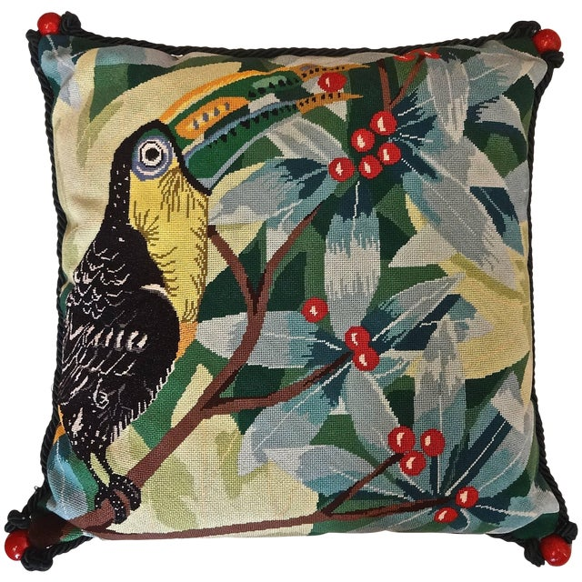 Toucan Needlepoint Pillow For Sale