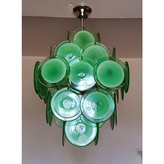 Green Mid-Century Modern Green Disc Murano Chandelier by Vistosi For Sale - Image 8 of 9
