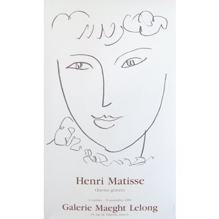 1984 Original Matisse Exhibition Poster, Oeuvres Gravées, Galerie Maeght Lelong For Sale