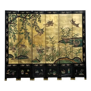 b97b750bb36a7 Vintage Asian Gold Six Panel Screen W Ducks Double Sided Room Divider For  Sale