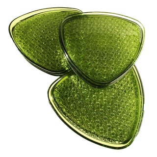 Green Glass Triangle Appetizer Plates/ Set of 8
