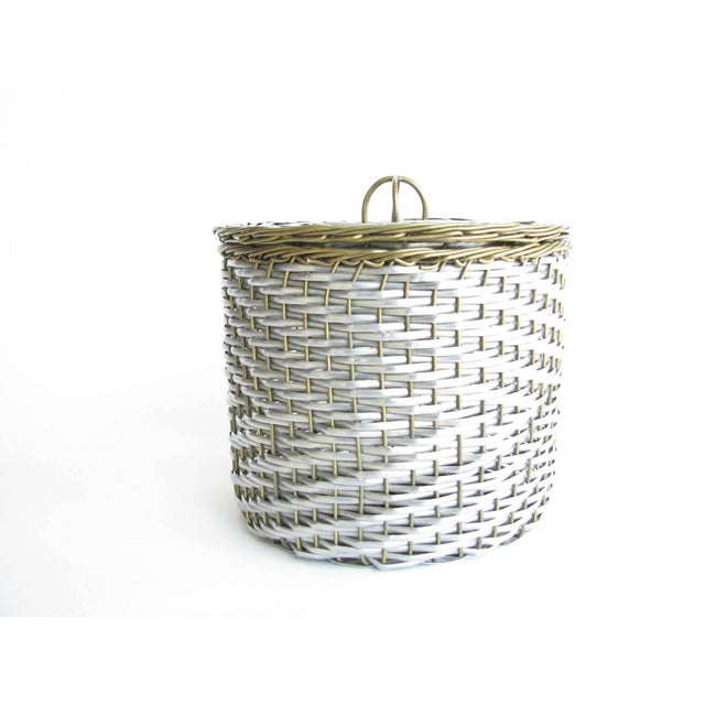 Vintage intricately woven metal wire lidded basket in silver and brass tones. Weaving is clean and tight, structure is solid.