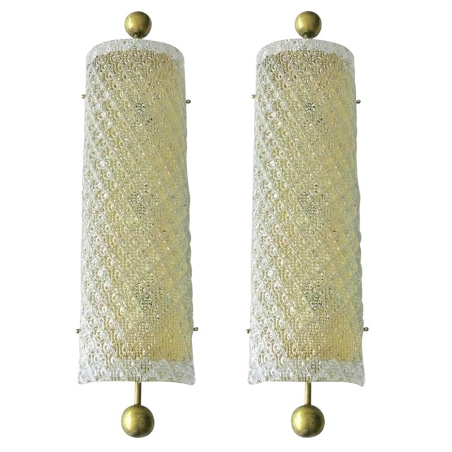 Limited edition Italian wall lights with clear Murano glass hand crafted with artistic diamond shaped pattern and brass...