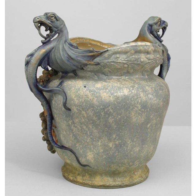 Tan Austrian Monumental Blue/Green Amphora Jardiniere For Sale - Image 8 of 9