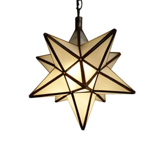 Frosted White Star Lantern Small For Sale