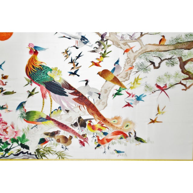 Vintage Framed 100 Birds Adore the Phoenix Chinese Silk Embroidery For Sale In Philadelphia - Image 6 of 13