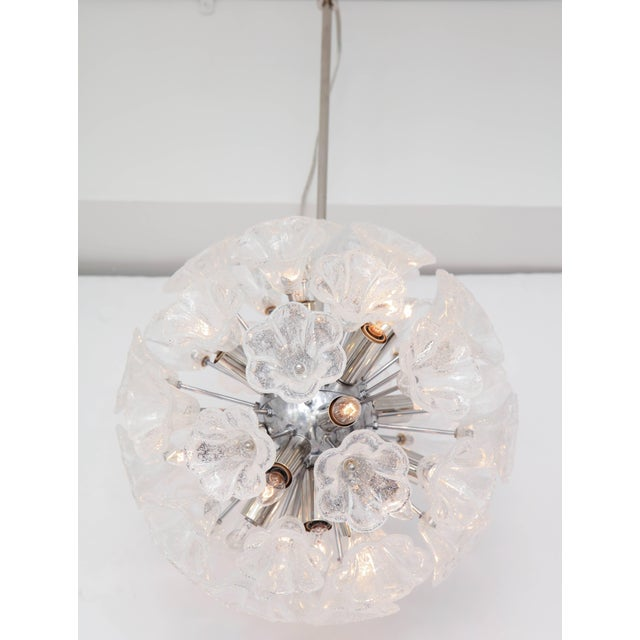 Silver Italian Floral Glass Sputnik Chandelier For Sale - Image 8 of 11