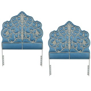 Regency Style Iron & Upholstered Headboards - Pair