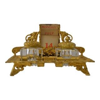 Antique French Gilt Ink Desk Set For Sale