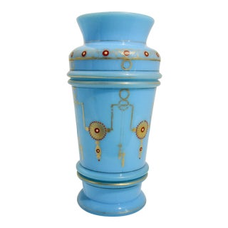French Blue Opaline Napoleon III Vase For Sale