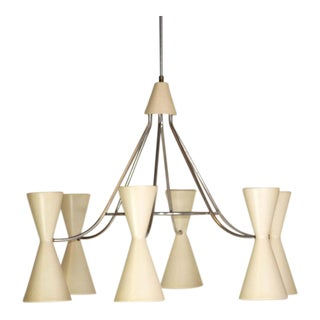 Large Mid-Century Modern Six Double Cone Chandelier For Sale