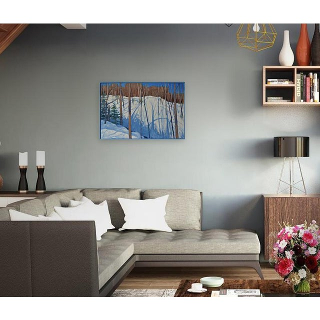 """Hiking in the snowy mountains of Vermont on a bright, blue-sky winter's day. This is acrylic on a solid 3/4"""" wood panel...."""