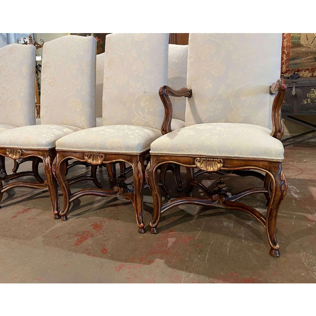 Decorate a dining table with this elegant suite of dining chairs. Crafted by Minton Spidell circa 2000, the set comprises...
