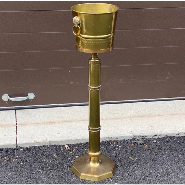 Brass Wine or Champagne Bucket on Stand For Sale - Image 4 of 13