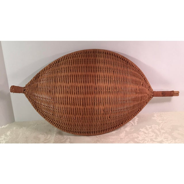 Vintage Handled Woven Basket For Sale In Dallas - Image 6 of 9