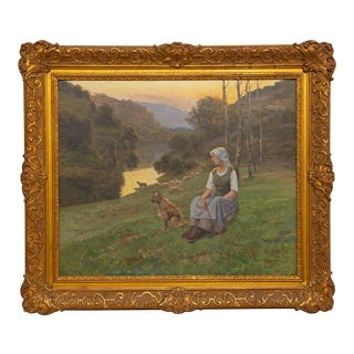 "19th Century French ""Shepherdess and Her Berger Picard"" Painting by Jean Beauduin For Sale"