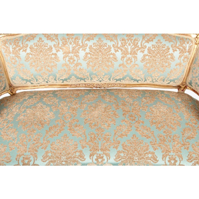 Mid 18th Century Antique Gilded Louis XVI Style Settee For Sale - Image 5 of 7
