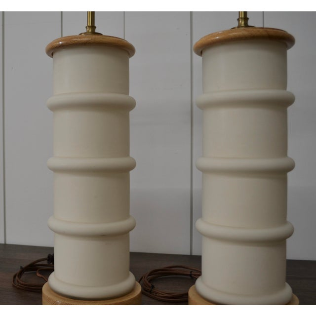 1940s Modernist White Glass & Oak Table Lamps - a Pair For Sale - Image 4 of 9