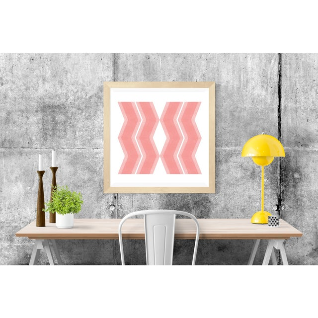 Abstract Pink Zig Zags Soft Geometry Print by Jessica Poundstone For Sale - Image 3 of 4