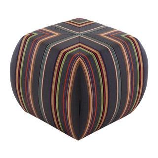Glide Striped Fabric Ottoman For Sale