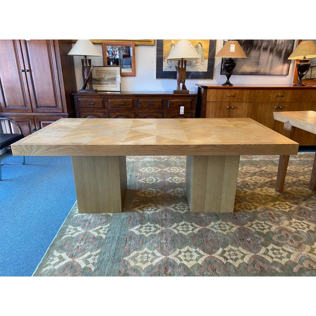 Design Plus Gallery presents a Custom Rustic + Modern Gray-wash Oak Inlay Dining Table. Double pedestal base gives ample...