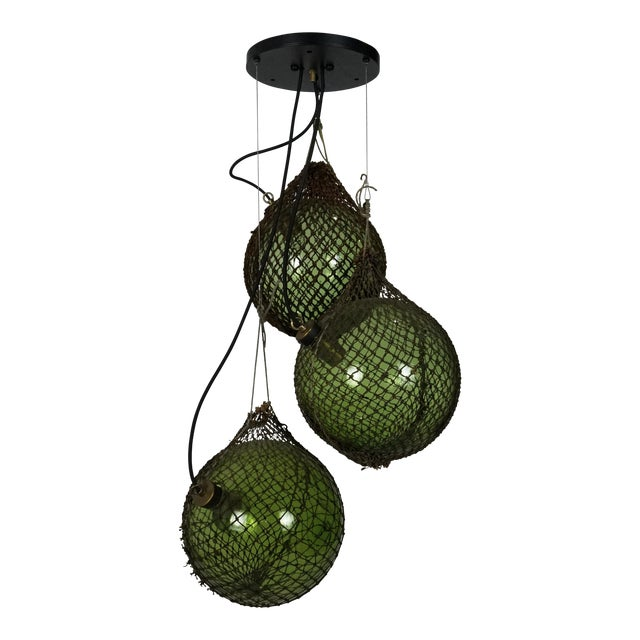 Antique Japanese Green Glass Fishing Floats 3-Light Pendant For Sale