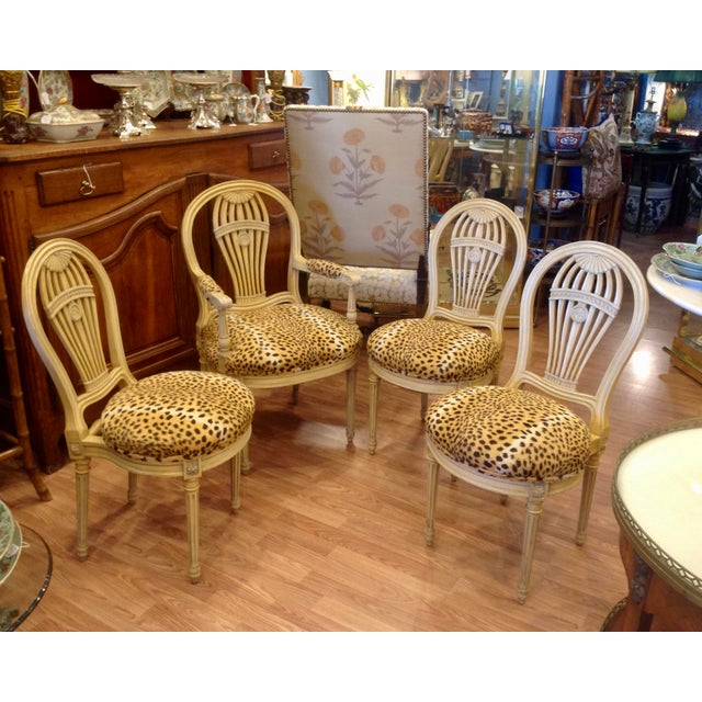 """Superb Classic design: One armchair and 3 sides. Eye-catching faux leopard seats. Measures: Armchair is 38"""" tall x 22.5""""..."""