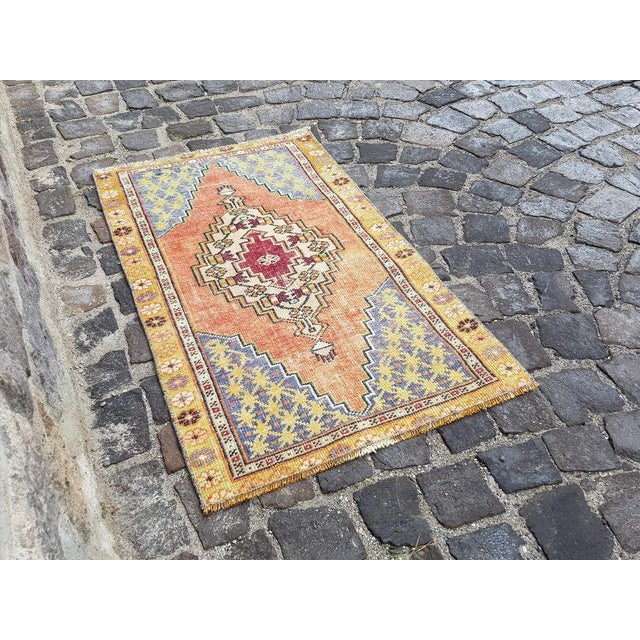 One of a kind colorful Turkish Handmade Oushak Rustic Rug. This is Handwoven by the tribal women of Oushak during the...