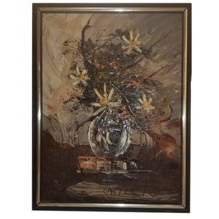 1978 Vintage Morris Katz The Wilting Daisies Framed Painting For Sale
