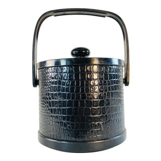 Vintage Black Textured Vinyl Ice Bucket For Sale
