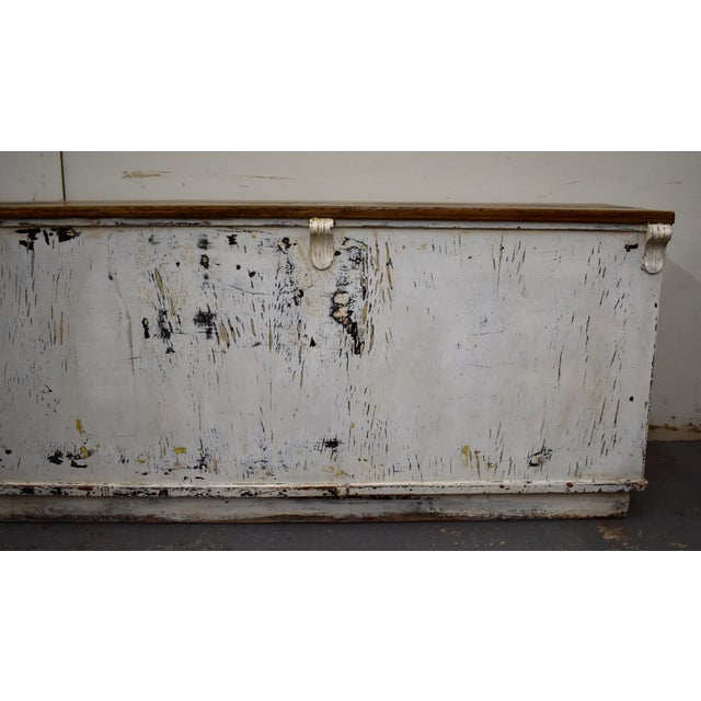 Massive Vintage Painted Pine and Oak Store Counter For Sale - Image 10 of 13