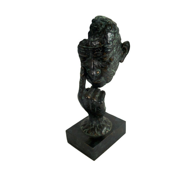 Maitland Smith Bronze Hands & Face Sculpture For Sale