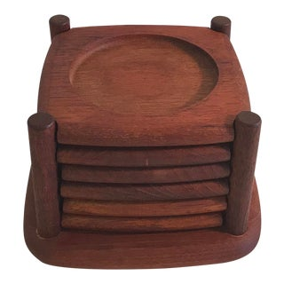 Vintage Wooden Coaster Set With Holder -Set of 6 For Sale
